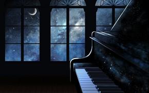 Обои интерьер, космос, пианино
