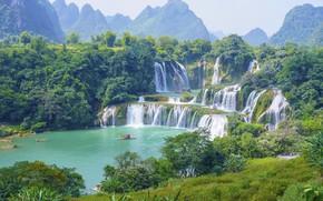 Картинка деревья, горы, природа, лодка, рай, водопад, красота