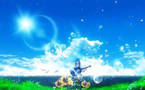 Картинка лето, девушка, цветы, пузыри, гитара, Y_Y
