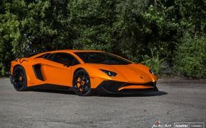Картинка Lamborghini, Black, Aventador, Vossen, Novitec, Gloss, NV-1