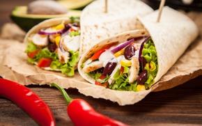 Картинка лук, мясо, овощи, food, лаваш, лепешка, mexican, tortillla