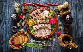 Обои мясо, специи, овощи, соус, масло, хлеб, оливки