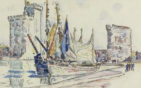 Картинка рисунок, башня, акварель, Поль Синьяк, Порт Ла-Рошель