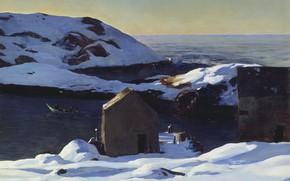 Обои пейзаж, скалы, природа, Rockwell Kent, Рокуэлл Кент, Зима. Остров Монеган, картина