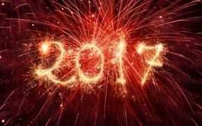 Картинка салют, Новый Год, new year, happy, fireworks, 2017