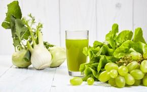 Картинка зелень, сок, виноград, напиток