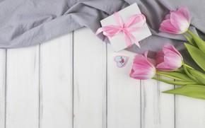 Картинка подарок, тюльпаны, wood, flowers, decoration