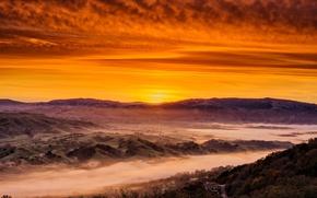 Картинка California, Sunrise, Rolling Hills, Tri-Valley, Low Fog