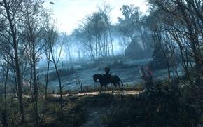 Обои лес, лошадь, плотва, The Witcher 3: Wild Hunt, дом, деревья, Ведьмак, Геральт