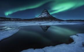 Обои звезды, Исландия, ночь, вода, гора Kirkjufell, северное сияние, зима, снег