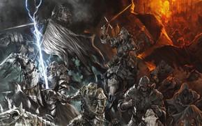 Картинка demon, fire, skull, flame, sword, armor, devil, chaos, war, army, ken, blade, flag, horse, evil, …