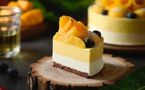 Картинка десерт, манго, кусок