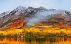 Обои озеро, осень, горы, лес