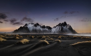 Картинка пляж, небо, звезды, горы, ночь, Исландия