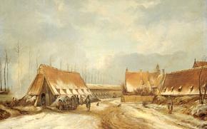 Картинка пейзаж, масло, картина, холст, Казематы Наардена в 1814 году, Питер Герардус ван Ос