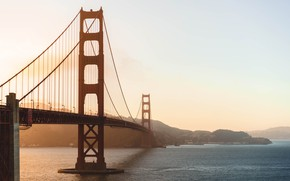 Картинка небо, вода, закат, мост, пролив, Калифорния, Сан-Франциско, Золотые Ворота, USA, США, Golden Gate Bridge, California, ...
