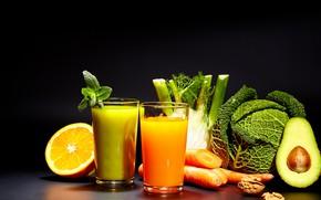 Картинка зелень, апельсин, сок, цитрус, капуста, авокадо