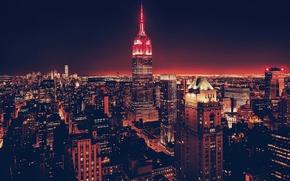 Картинка night, usa, city, ночной город, нью-йорк, apartments, skyscrapers, сша, небоскребы, new york
