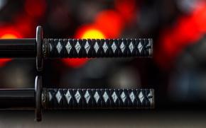 Картинка макро, мечи, самурайские, рукоятки