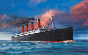 Картинка волны, корабль, Transatlantic Ships, lusitania