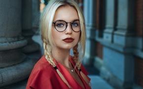 Картинка взгляд, девушка, лицо, очки, косички, красная помада