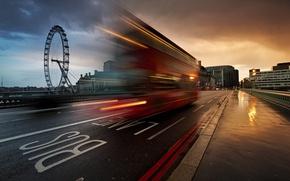 Картинка город, улица, Англия, Лондон, выдержка, Великобритания, автобус