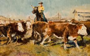 Картинка коровы, ковбой, Жанровая живопись, Пал Фрид, На скотном дворе