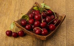 Картинка листья, ягоды, Вишня, миска
