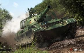 Картинка дорога, лес, дым, грязь, арт, танк, китайский, World of Tanks, лёгкий, WZ-132-1