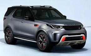 Картинка Discovery, внедорожник, V8, 4x4, 2017, четырёхдверный, 525 л.с., SVX, Land Rover, фон, серый