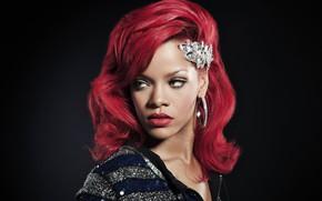 Обои портрет, Rihanna, красные волосы