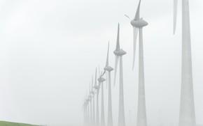 Картинка пейзаж, туман, ветряки