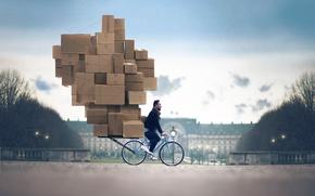 Картинка велосипед, мужчина, коробки, Vincent Bourilhon