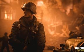 Картинка Flame, WW2, Soldier, Call of duty, COD14, COD:WWll, Foreground