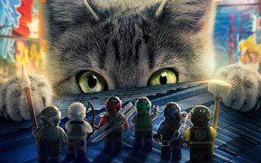 Обои кот, мультфильм, The Lego Ninjago, Лего, animated movie