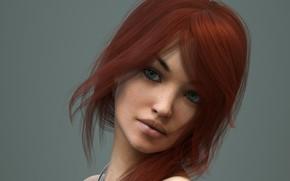 Картинка девушка, фон, портрет, рыжая
