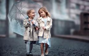 Картинка дети, девочки, зонт, мостовая, girls, bridge, umbrella, children, подружки, girlfriend