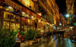 Обои ресторан, Франция, бистро, город, Европа, улица, ночь, Лион