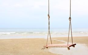 Картинка песок, море, волны, пляж, лето, качели, summer, beach, sea, seascape, sand, wave