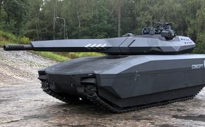 Картинка concept, Poland, tank, vegetation, futuristic, cannon, stealth, BAE Systems, modern weapon, PL-01, PL 01, light …