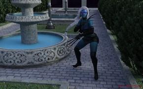 Картинка девушка, фентези, когти, фонтан, синяя девушка