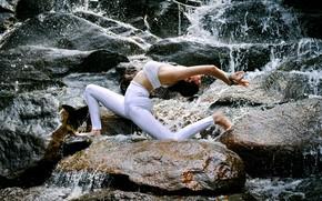 Картинка девушка, природа, поза, камни, гимнастика, йога