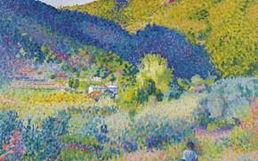 Картинка картина, Henri Edmond Cross, пуантилизм, Анри Кросс, Пейзаж с Горами