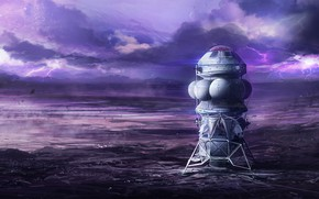 Картинка поверхность, молнии, планета, аппарат, Landing Site
