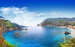 Картинка море, скалы, берег, Италия, landscape, Italy, travel, Monterosso al Mare, Liguria