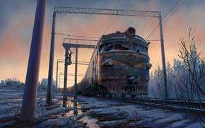 Обои снег, поезд, арт, ж-д