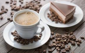 Обои кофе, пирожное, зёрна, кофейные, chocolate, шоколадное, coffee, dessert, суфле
