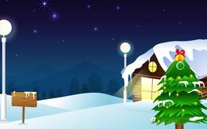 Картинка Зима, Ночь, Снег, Домик, Рендеринг