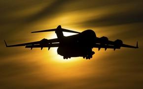 Картинка рассвет, силуэт, Boeing, Globemaster III, C-17A
