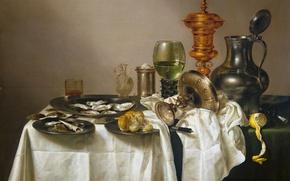 Картинка лимон, еда, картина, посуда, устрицы, Виллем Клас Хеда, Натюрморт с Позолоченным Кубком